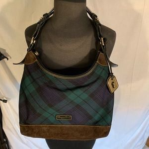 Dooney and Bourke plaid and suede hobo